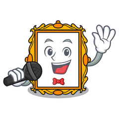 Singing picture frame mascot cartoon