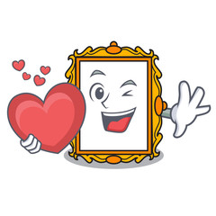 With heart picture frame mascot cartoon