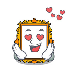 In love picture frame mascot cartoon