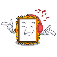 Listening music picture frame mascot cartoon
