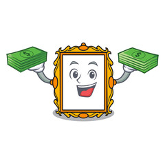 With money bag picture frame mascot cartoon