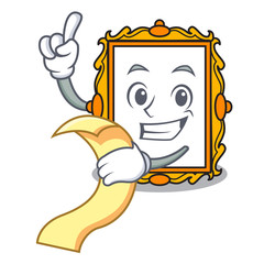 With menu picture frame mascot cartoon