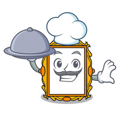 Chef with food picture frame mascot cartoon