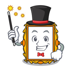 Magician picture frame mascot cartoon