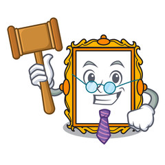 Judge picture frame mascot cartoon