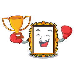 Boxing winner picture frame mascot cartoon
