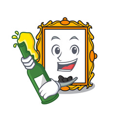 With beer picture frame mascot cartoon