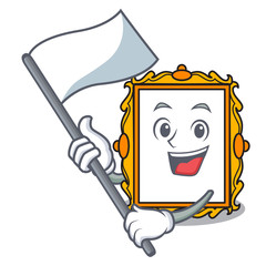 With flag picture frame mascot cartoon