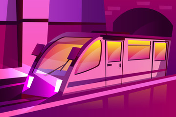 Vector cartoon modern subway, underground speed train in futuristic purple color style. Illustration with railway transportation, locomotive with passenger wagon urban city transport tunnel background