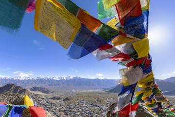 Tibetan prayer flags at Leh, Ladakh, India