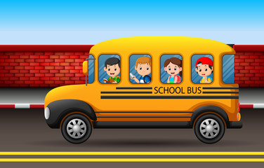 many children on a school bus