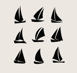 Ship Silhouette Icon Set, art vector logo design