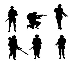 Six silhouettes of soldiers