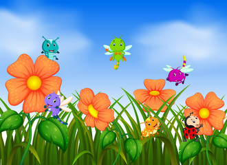 many insect flying in flower garden