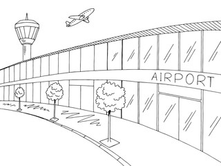 Airport graphic black white exterior sketch illustration vector
