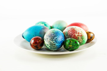 decorated eggs on a plate