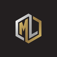 Initial letter ML, looping line, hexagon shape logo, silver gold color on black background