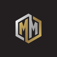 Initial letter MM, looping line, hexagon shape logo, silver gold color on black background
