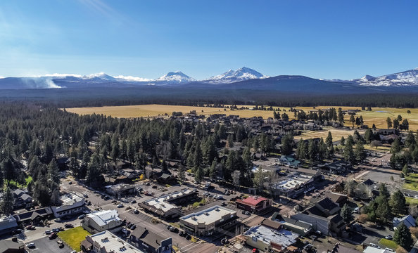Drone images of Sisters Oregon in late Fall