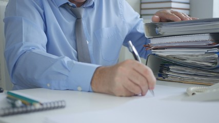 Businessman Image Signing Accounting Documents