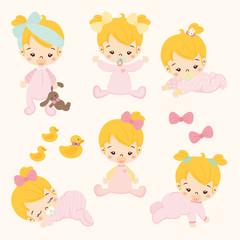 set of cute baby