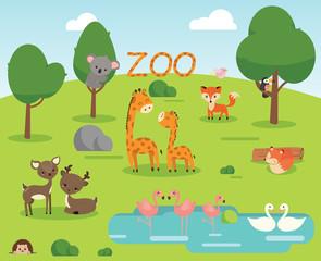 Zoo cartoon poster with giraffe, fox, bird, swan, flamingo, koala vector illustration