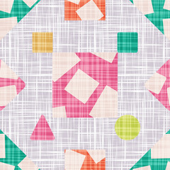 Abstract print fabric geometric shapes.