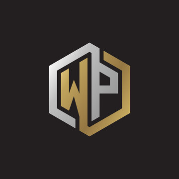Initial letter WP, looping line, hexagon shape logo, silver gold color on black background