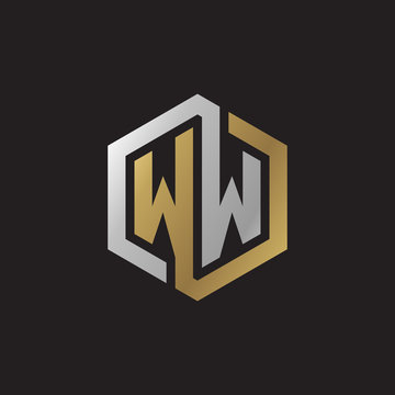 Initial letter WW, looping line, hexagon shape logo, silver gold color on black background