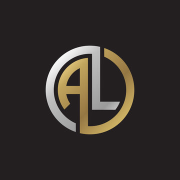 Initial letter AL, looping line, circle shape logo, silver gold color on black background