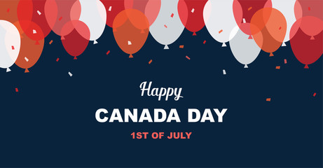 1 July. Happy Canada Day greeting card. Celebration banner with flying balloons in canadian flag colors.
