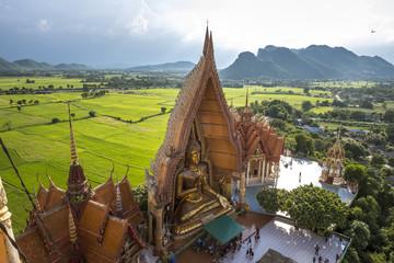 Landscape of Wat Tham Sua Thai temple in Kanchanaburi