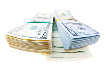 Two stacks of american dollars isolated on white background
