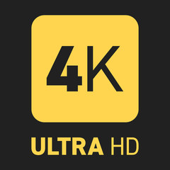 4K label yellow black