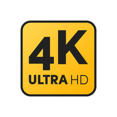 4K label yellow icon