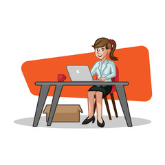 Business woman behind the desk vector