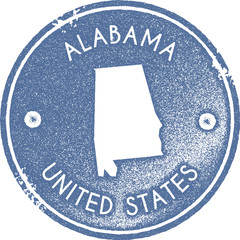 Alabama map vintage stamp. Retro style handmade label, badge or element for travel souvenirs. Light blue rubber stamp with us state map silhouette. Vector illustration.