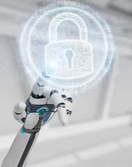 White cyborg hand protecting his datas with digital security hologram 3D rendering