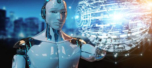 White male robot using digital globe hud interface 3D rendering