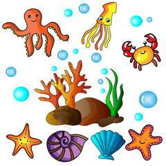 Cute cartoon hand drawing and painting vector and illustration with under the sea, beach and summer icons for resources