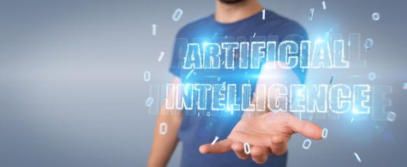 Businessman using digital artificial intelligence text hologram 3D rendering