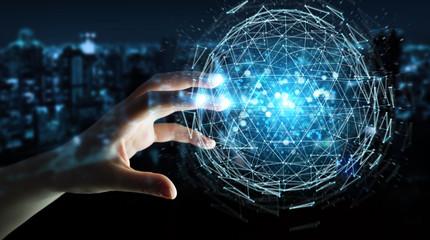 Businesswoman using digital triangle exploding sphere hologram 3D rendering