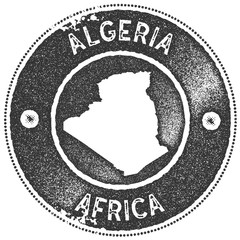 Algeria map vintage stamp. Retro style handmade label, badge or element for travel souvenirs. Dark grey rubber stamp with country map silhouette. Vector illustration.