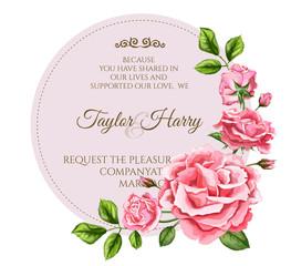 Vector watercolor rose flower wedding card