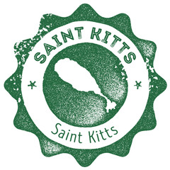 Saint Kitts map vintage stamp. Retro style handmade label, badge or element for travel souvenirs. Dark green rubber stamp with island map silhouette. Vector illustration.