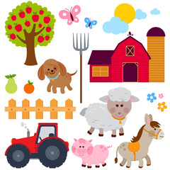 Farm and animals collection. Vector illustration.