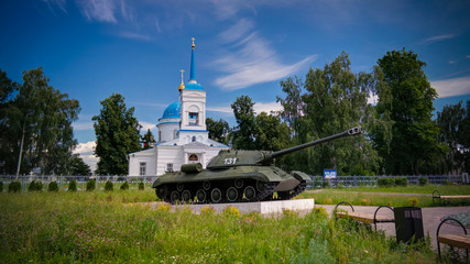 Exterior view to Church of the Intercession of the Holy Virgin and tank , gorodets, Russia
