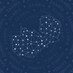 Zambia network, constellation style country map. Fantastic space style, modern design. Zambia network map for infographics or presentation.