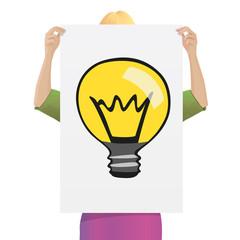 idée - ampoule - concept - conception - créative - femme - créatif - entreprise - réfléchir - créativité