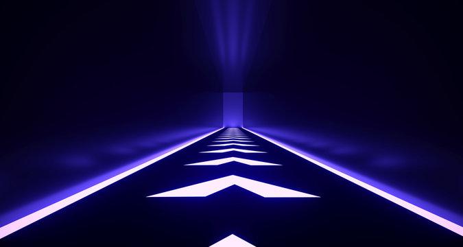 Realistic Dark Sci-Fi Corridor With Neon Arrow Lights  3D Rendering